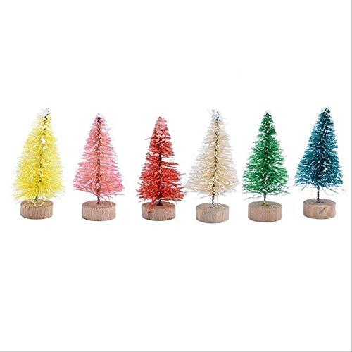 WARRT Arbol de Navidad Mini Árbol De Navidad Niños DIY Madera Miniatura Árbol De Navidad Mesa Pino Árbol Decoración B07-5cm-6pcs Mezcla
