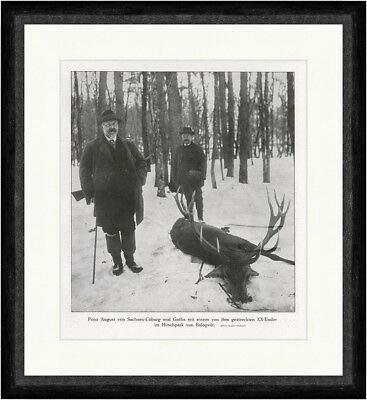 Kunstdruck Prinz August von Sachsen Coburg & Gotha Adel Jagd Hirsch F_Vintage 00733