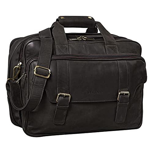 STILORD \'Valencia\' Lehrertasche Leder Damen Herren Vintage Umhängetasche Große Ledertasche Laptoptasche XL für Schule Uni mit Dreifachtrenner Echtleder, Farbe:matt - Dunkelbraun