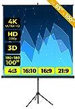 Schermo Proiettore Provis Treppiede (100 Pollici) 200cm (180x180cm) Formato 4:3 16:9 16:10 Leggero 2 Metri Schermo Proiezione 2mt Telo Proiettore Videoproiettore Videoproiezione 2 mt 4K Full HD 3D