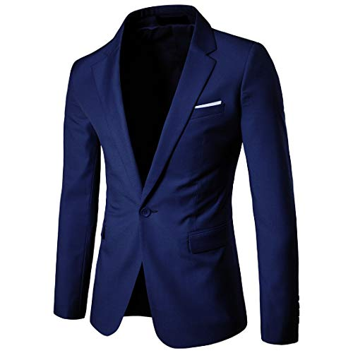 Cloudstyle Men's Suit Jacket One Button Slim Fit Sport Coat Business Daily Blazer,Navy,Medium