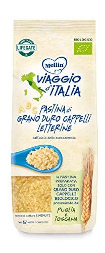 Mellin Viaggio d'Italia, Pastina di Grano Duro Cappelli Bio, Letterine, 8 Confezioni da 320 gr
