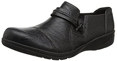 Clarks Women's Cheyn Madi Loafer, Black Scrunch Leather, 5 M US