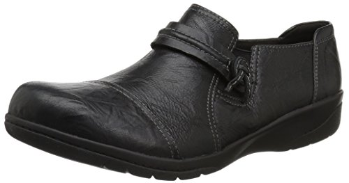Clarks Women's Cheyn Madi Loafer, Black Scrunch Leather, 10 M US