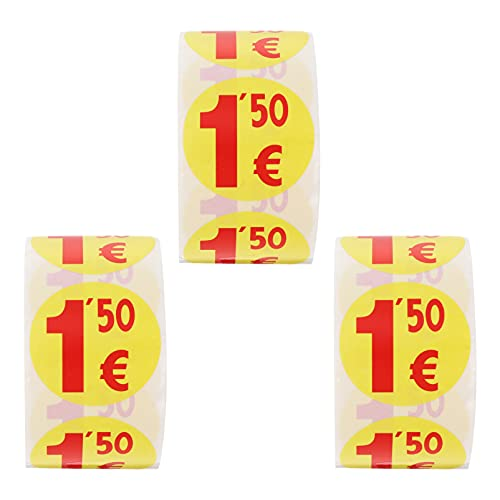 DOITOOL 1500pcs Yellow Price Mark Label Stickers Retail Sale Signs Signs Sales Price Label Tags for Real Estate and Garage Sales Fundraising Stores 1. 50 Euro