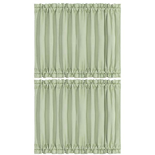 PiccoCasa Blackout French Door Curtain Panel - Thermal Insulated Blackout Door Curtain Solid Drapery with Tiebacks 2 Panels Light Green W54 x L40 Inch