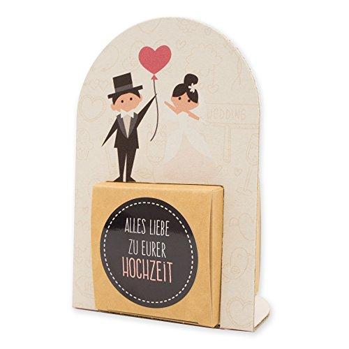 itenga Geldgeschenk oder Gastgeschenk Verpackung Hochzeit Brautpaar Luftballon Herz Cremetöne aus Karton 15x10cm