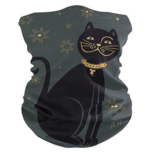 MJDIY Scarf Wrap Bandana voor motorrijders, met zwarte band aan de hals van de kat, comfortabele paraplu voor outdoor-activiteiten