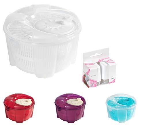Mabel Home Salatschleuder, Salatschleuder und Mixer, 5,5 Quart, Gemüse-Spinner – Extra Salz- und Pfefferstreuer inkl. (weiß)