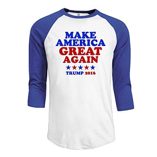 IYAYA Hacer América Gran Nuevo Hombre 3/4Manga Raglán Camiseta de béisbol