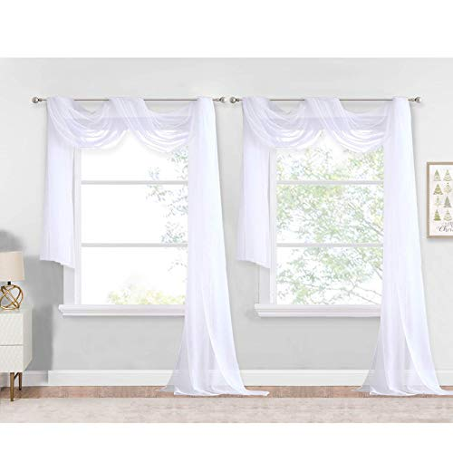 NICETONW White Window Scarf Valances Voile Sheer Texture for Bedroom/Living Room, Decorative Bed Canopy Scarfs Curtain Drapes for Wedding/Anniversary, W60 x L144, Set of 2
