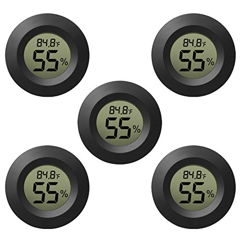 EEEkit Lot de 3 hygromètres Thermomètre numérique LCD Moniteur d'humidité intérieur extérieur Manomètre pour humidificateurs Déshumidificateurs Serre Sous-sol Chambre de bébé Noir Rond Measure en Fahrenheit/Celsius 5-pack