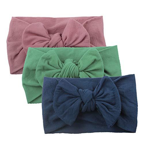 Moneycom Turban Solides Haarband, einfarbig, Big Bow, Schmuck, süß, Prinzessinnen-Band, für Mädchen, Baby, Kleinkinder, Turban, robustes Haarband, 3 Stück Gr. Einheitsgröße, G.