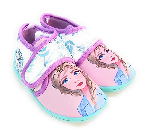 Hausschuhe Frozen Elsa von Estar by Casa – Disney Frozen Mädchen Hausschuhe mit Klettverschluss, Mehrfarbig - bunt - Größe: 23 EU