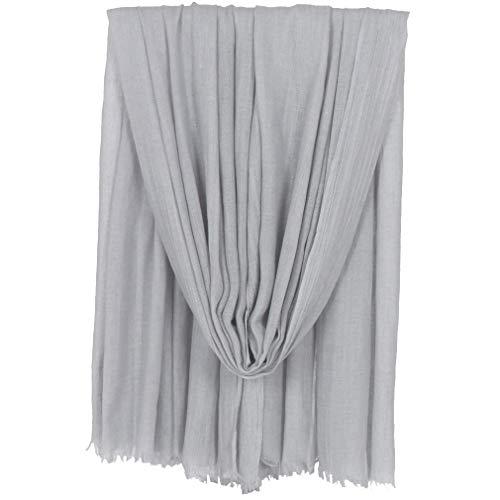 KAVINGKALY Baumwollschals für Frauen Leichte einfarbige Quasten Große Tücher und Tragetücher für Abendkleider (Hellgrau)