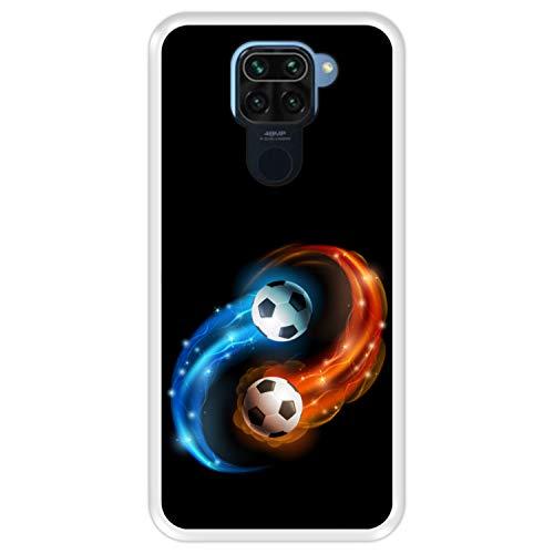 Hapdey silikon Hülle für [ Xiaomi Redmi Note 9 ] Design [ Abstrakt, Feuer & Wasser, Fußball ] Transparenz Flexibles TPU