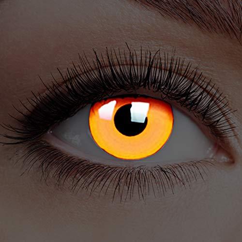 Farbige Kontaktlinsen Leuchtend ohne Stärke Rand Glow Deep Orange UV Motiv-Linsen Halloween Karneval Fasching Cosplay Anime Manga Augen Neon Eye Devil Hexe Vampir Clown Dämon