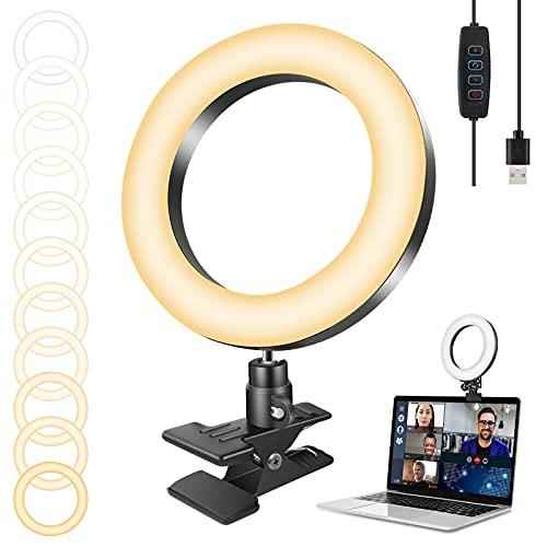 Set de iluminación para videoconferencias de 16,5 cm + 3 colores + 10 ajustes de brillo + 360 ° giratorio para…