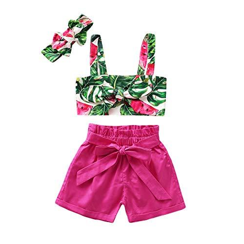 Wide.ling Pasgeboren Baby Meisjes Zomer Outfits Leuke Bloemen Mouwloos Uit Schouder Top+Korte Broek met Hoofdband Sunsuit Badpak