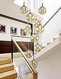 LiQi Lampade a Sospensione da Salotto dal Design Moderno 10 luci Lampadario a Sfera di Vetro Lampada a Sospensione Rotonda in Vetro per Sala da Pranzo Scala Girevole Ufficio Bar,Farbe Cognac
