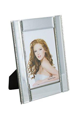 ThreeStar Standspiegel-Bilderrahmen mit Vier dünnen vertikalen Kristallsträngen, 10,2 x 15,2 cm