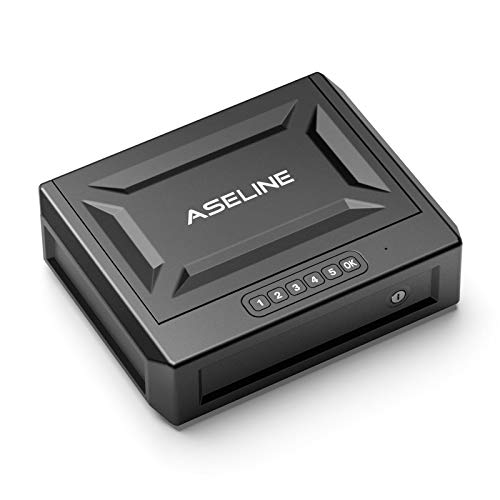 ASELINE Gun Safe Gun Safes for Pistols, Quick Access Handgun Safe Firearm Safety Device with Reliable Keypad or Key Lock, Portable Gun Security Safe Box for Home