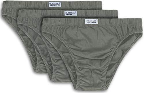 normani 3er Pack klassisch geschnittene Herren Slips Mens aus 100% Baumwolle - Underwear - Unterwäsche - Unterhosen für Männer Farbe Grau Größe 3XL