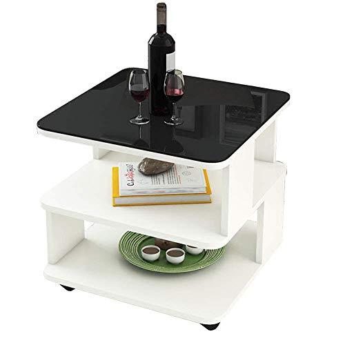 Axdwfd Table d'appoint Nordic Moderne En Verre Trempé 2 Couche Table Basse Canapé Salon Table De Chevet Table De Rangement 2 Couleurs Et Tailles (Couleur : Blanc, taille : 50 * 50 * 50cm)