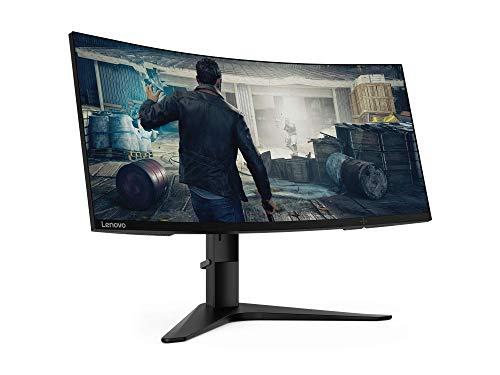 "Lenovo G34w-10 - Monitor Gaming Curvo 34"" 2K QHD (VA, 144Hz, 1ms, HDMI, DP, FreeSync Premium, Base Metálica) Ajuste de inclinación/altura - Negro"