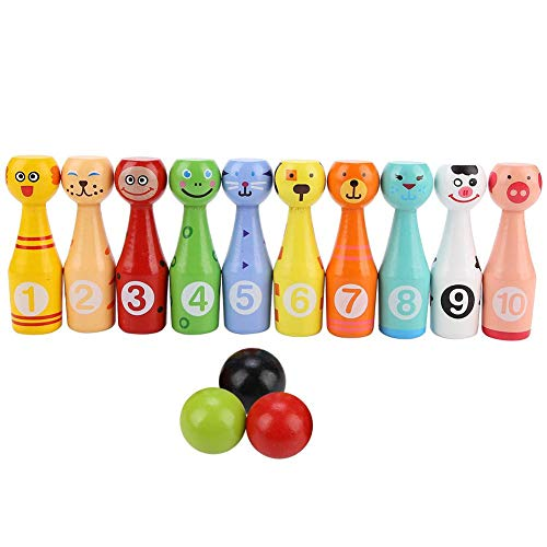 Jadpes Bowling Toy, Kindesr Pädagogisches Tier Bowling Bottle Ball Kinders Outdoor-Spiel Holzspielzeug für Kleinkinder/Jungen/Mädchen Frühe Entwicklung/Sport/Vorschule