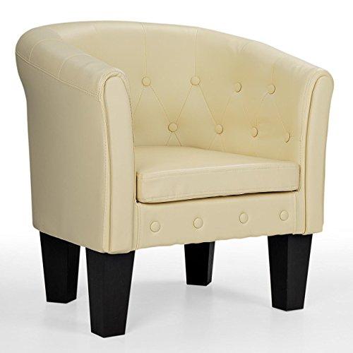 Homelux Chesterfield Sessel, aus pflegeleichtem Kunstleder und Holz, mit Rautenmuster, Farbwahl, Lounge Sessel, Clubsessel, Armsessel, Cocktailsessel, Wohnzimmer Möbel, Design-Polstermöbel, Creme