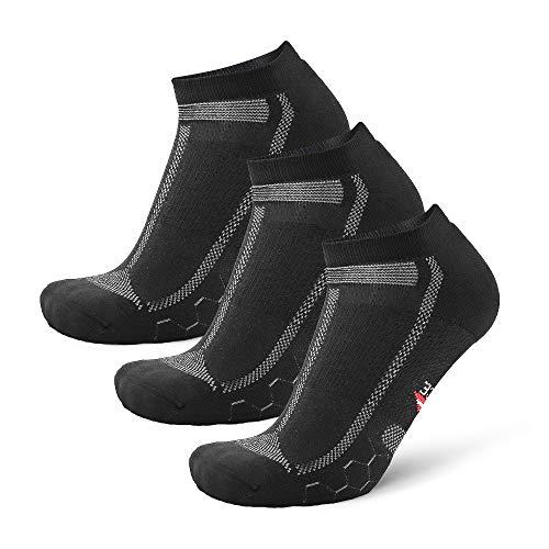 DANISH ENDURANCE Long Distance Low-Cut Running Socks for Men & Women (Schwarz/Grau, 39-42)