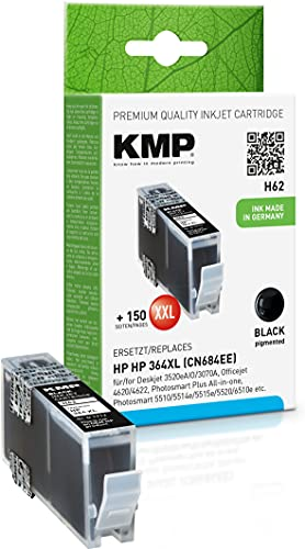 KMP Tintenpatrone Kompatibel mit HP 364 XL Schwarz für HP Deskjet 3520eAIO/3070A, Officejet 4620/4622, Photosmart Plus All in one, Photosmart 5510/5514e/5515e/5520, Photosmart eStation C510a
