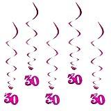 Oblique Unique® Hänge-Deko Alter des Geburtstagskindes - 30 Jahre - mit Bänder und Ösen 5er Pack