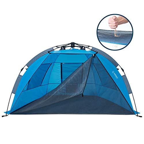 Beach Tent with SAND-FREE Porch, 4 Person XL Deluxe Tent, Easy to Clean & Setup Pop Up Sun Shade, Wind Blocker
