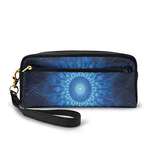 Pencil Case Pen Bag Pouch Stationary,Abstract Space Mandala Digital Fantasy Energy Futuristic Spiritual Art,Small Makeup Bag Coin Purse