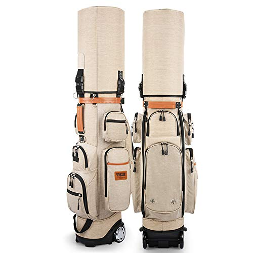 Portable Cart Golf Bags with Wheels, Lightweight Waterproof Golf Aviation Bags Golf Bag Holder, with Thermostat Bag and Combination Lock, Men's and Women's Sunday Golf Bag
