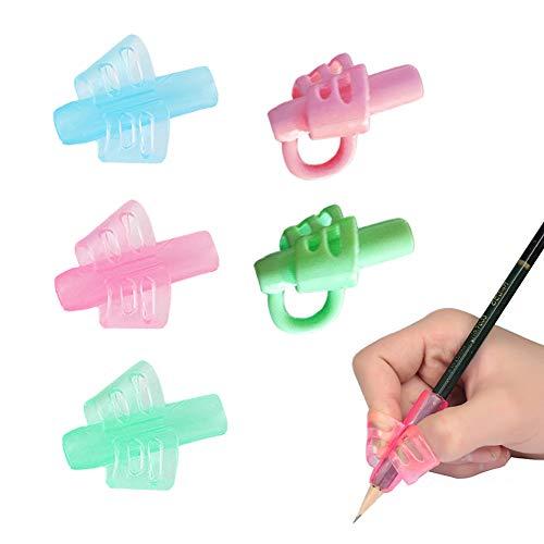 Pencil Grip, Yuccer Impugnature matita Morbidi Silicone Ergonomico Supporto di Scrittura Correzione Della Postura Strumento per Bambini Adulti Bisogni Speciali, 5 Pcs