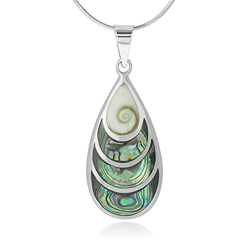 Chuvora 925 Sterling Silver Beautiful Shiva Eye and Abalone Shell Inlay Teardrop Pendant Necklace, 18""