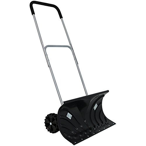CASL Brands Heavy-Duty Rolling Snow Pusher with 6-Inch Polypropylene Wheels and Adjustable Aluminum Handle - Wheeled Snow Plow-Style Back Saver Snow Shovel - 26-Inch Blade