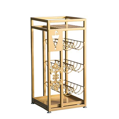 Umbrella Stands/Flower Stand,Antique Metal Square Umbrella Rack Floral Design Canes Walking Stick Holder, 28x28x60cm (Color : Gold)