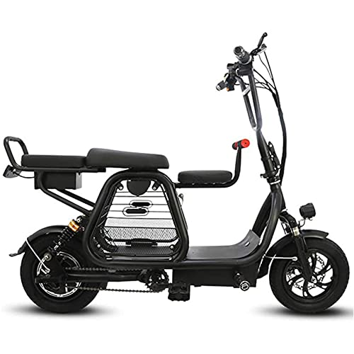 SXFYHXY Scooter Eléctrico con Asiento/Cesta para Mascotas para Adultos Portátil De Dos Ruedas 400W 48V 20A Acero De Alto Carbono 12