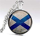 DADATU Joyería Vintage Hecho A Mano Collar Foto Escocia Bandera Cúpula De Cristal Colgante Plata Cadena Collares