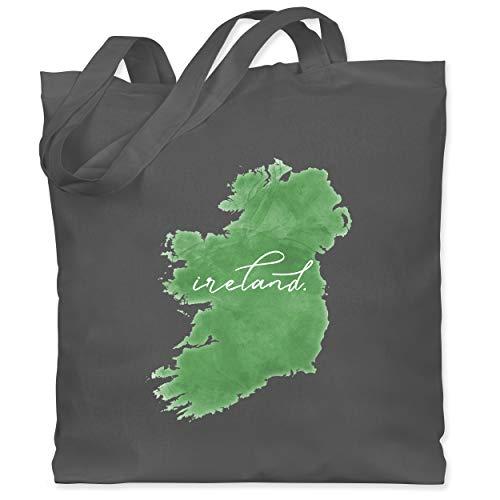 St. Patricks Day - Ireland Irland Aquarell Lettering - Unisize - Dunkelgrau - Geschenk - WM101 - Stoffbeutel aus Baumwolle Jutebeutel lange Henkel