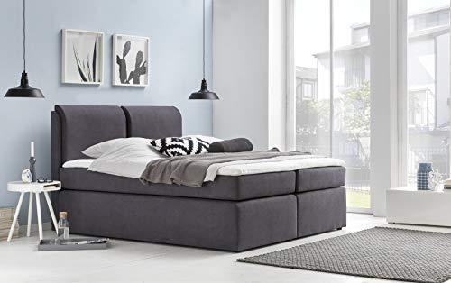 Furniture for Friends Boxspringbett Ylva Granitgrau mit Kissenoptik 160x220 cm H3 inkl. Visco-Topper, 7-Zonen Taschenfederkern-Matratze