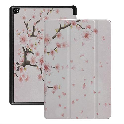 QIYI Case Fits Kindle Fire 8, Floral Kids Protective Standing Cover For HD 8 Tablet Auto Wake   Sleep (6th   7th   8th Gen, 2016   2017   2018 Release) [NOT for 2020 Fire HD 8 Tablet] - Cherry Blossom