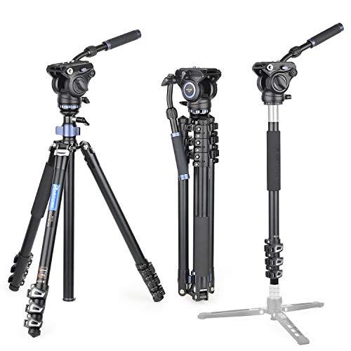 コンパクトアルミ 三脚 トラベル 一脚伸縮可変式 全伸高 195cm ビデオ 2ウェイフルード雲台水準器 持ち運びは便利 三脚ケース付き レバーロックARTCISE ブランド デジタルカメラ DSLR 一眼レフCanon Nikon Petax Sonyなど用 運動会 登山 野外撮影用