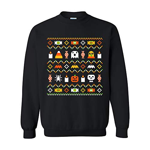 UGP Campus Apparel Halloween Ugly Sweater - Funny Spooky Halloween Costume Crew Sweatshirt - Large - Black