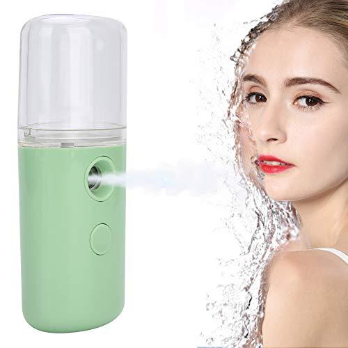 Mini Facial Handy Nano Steamer, PulvéRisateur Portatif de Brume Hydratante, Appareil de Beauté D'Humidificateur de Soins de la Peau Rechargeable Par USB, 30ml(Green)