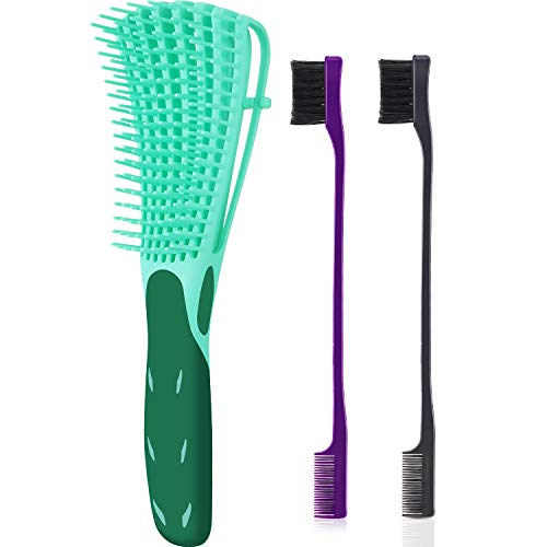 3 Pieces Detangling Brush Set with Edge Brush Double Sided, Hair Detangler for Afro America Textured 3a to 4c Kinky Wavy for Wet/ Dry/ Long Thick Curly Hair (Green, Purple, Black)
